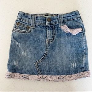 Guess jeans distressed denim skirt pink lace 3T